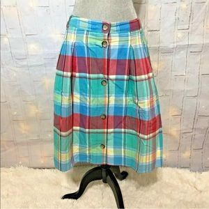 Lands end plaid pleated lined summer skirt